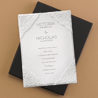 Sumptuous Silk and Lace Invitation Pockets Carlson Craft Wedding