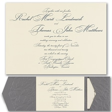Luxury wedding invitations: Pewter Embossed Vines