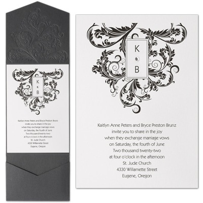 Embossed Flourish - Invitation