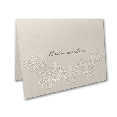 Elegant Floral Lace - Thank You Note and Envelope