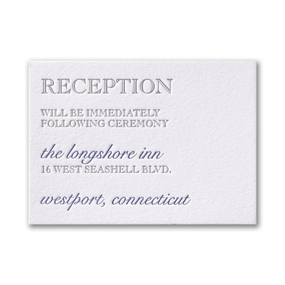Contemporary Style - Reception Card - Lettra Fluorescent White