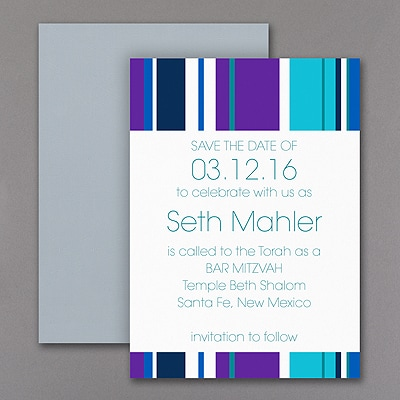 Sensational Stripes - Save the Date Magnet - Aqua