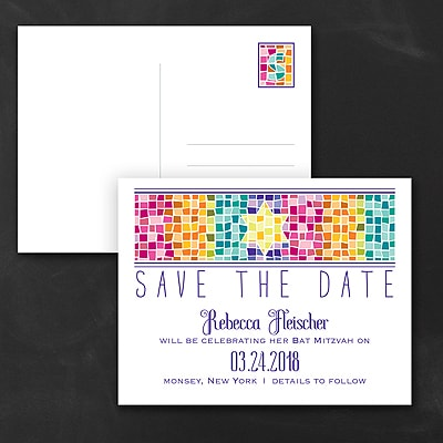 Marvelous Mosaic - Bat Mitzvah - Save the Date Postcard