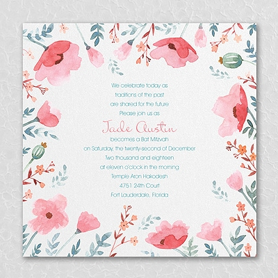 Pretty Poppies - Invitation - Coral
