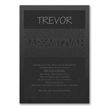 Meaningful Mitzvah - Boy - Invitation - Black Shimmer