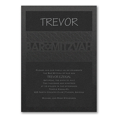 Meaningful Mitzvah - Boy - Invitation - Black Shimmer