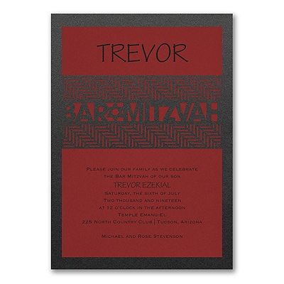 Meaningful Mitzvah - Boy - Invitation - Claret