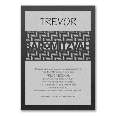 Meaningful Mitzvah - Boy - Invitation - Silver Shimmer