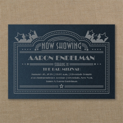Now Showing - Invitation - Navy Shimmer