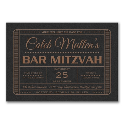 Exclusive VIP Pass - Bar Mitzvah - Invitation - Black Shimmer