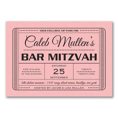 Exclusive VIP Pass - Bar Mitzvah - Invitation - Pastel Pink Shimmer