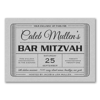 Exclusive VIP Pass - Bar Mitzvah - Invitation - Silver Shimmer