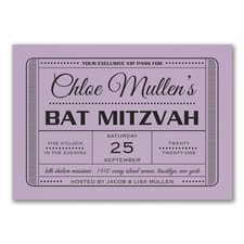 Exclusive VIP Pass - Bat Mitzvah - Invitation - Lavender