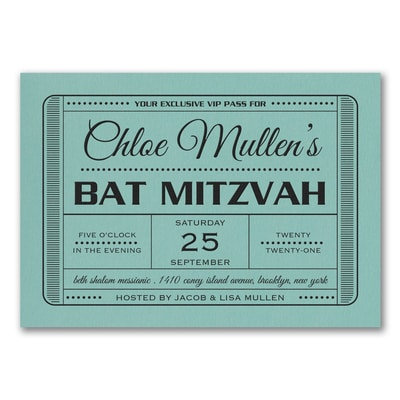 Exclusive VIP Pass - Bat Mitzvah - Invitation - Lagoon Shimmer