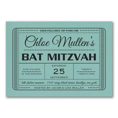 Exclusive VIP Pass - Bat Mitzvah - Invitation - Lagoon Shimmer