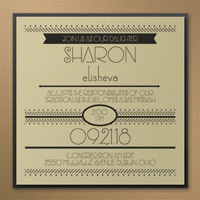 Dots and Dashes - Layered Invitation - Gold Shimmer