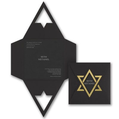 Shield of David - Invitation - Black Shimmer