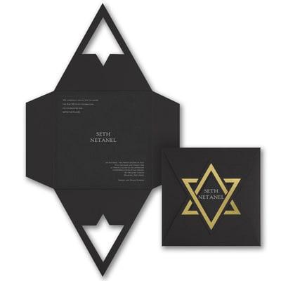 Shield of David - Invitation - Black Shimmer