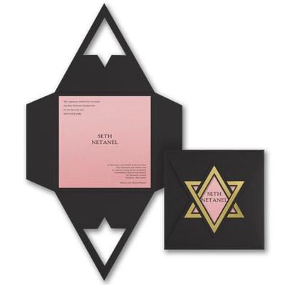 Shield of David - Invitation - Pastel Pink Shimmer
