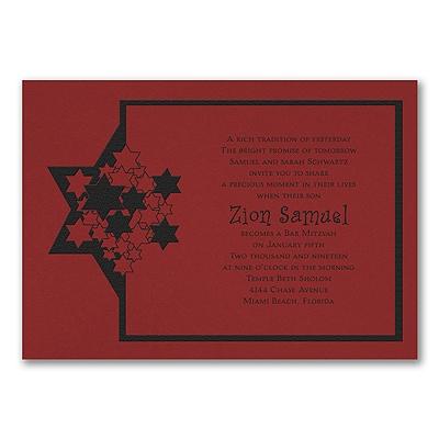 Stars of David - Invitation - Claret