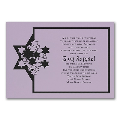 Stars of David - Invitation - Lavender