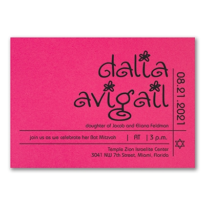 Glitter Girl - Invitation - Fuchsia