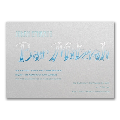 Fashion Bar Mitzvah - Invitation - Silver Shimmer