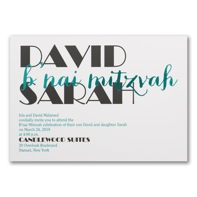 Celebrating Big - B'nai Mitzvah - Invitation