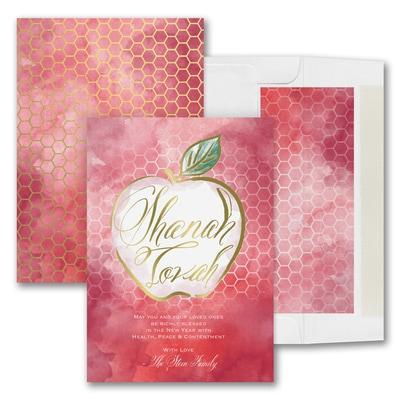 vibrant apple jewish new year card