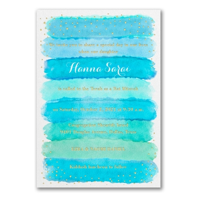 Bright Watercolor - Invitation - Aqua