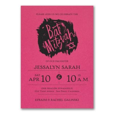 hip mitzvah bat mitzvah invitation fuchsia bar bat mitzvah