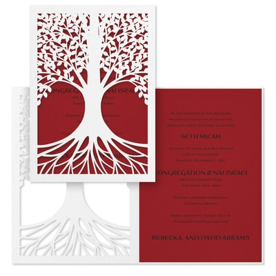 Tree of Life - Invitation - Claret