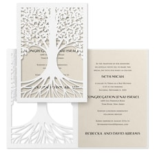 Tree of Life - Invitation - Ecru Shimmer