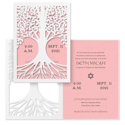 Tree of Life - Invitation - Pastel Pink Shimmer