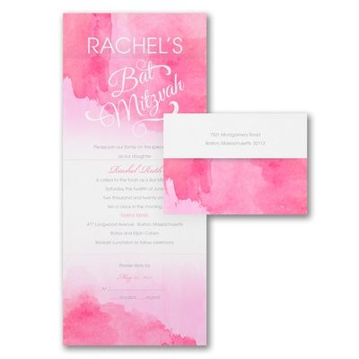 Wonderful Watercolor - Seal n' Send - Bat Mitzvah - Fuchsia