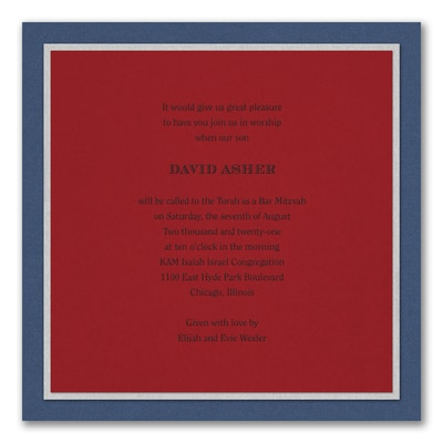 Sophisticated Sapphire - Invitation - Claret
