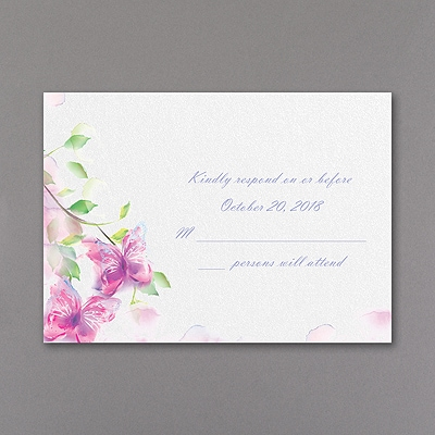 Watercolor Butterfly - Response Card and Envelope - Fuchsia