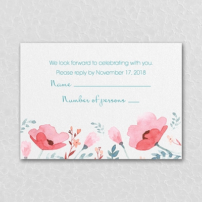 Pretty Poppies - Response Card and Envelope - Coral