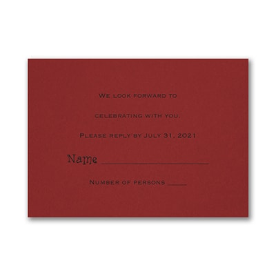 Response Card and Envelope - Claret
