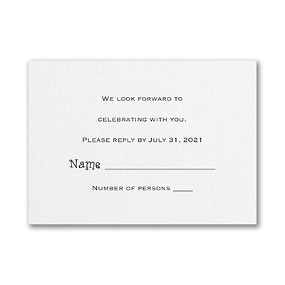 Response Card and Envelope - White Shimmer