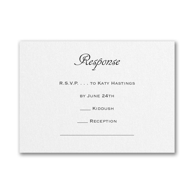 Designer Mitzvah - Response Card and Envelope - White Shimmer