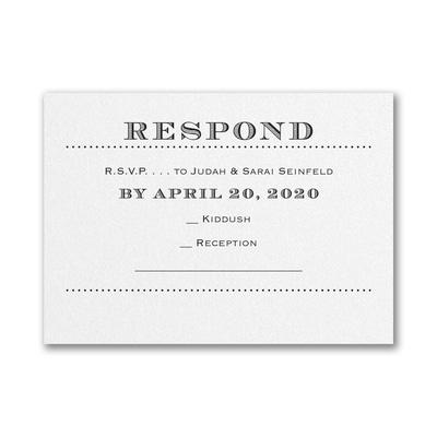 Mitzvah Type - Response Card and Envelope - White Shimmer