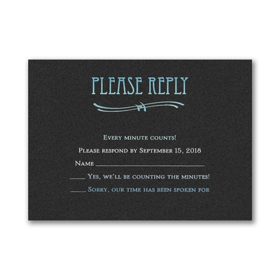 Fashion Mitzvah - Response Card and Envelope - Black Shimmer