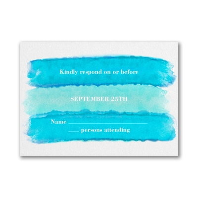 Bright Watercolor - Response Card and Envelope - Aqua