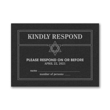 Modern Mitzvah - Response Card and Envelope - Black Shimmer