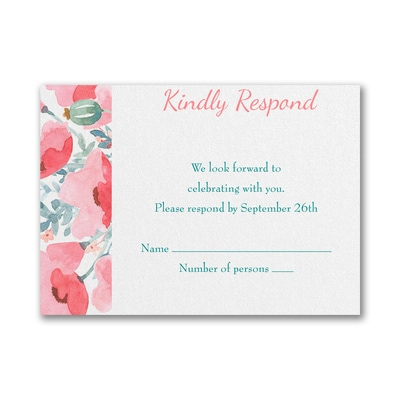 Peaceful Star - Response Card and Envelope - Coral