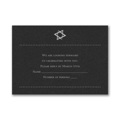 Hip Mitzvah - Response Card and Envelope - Black Shimmer