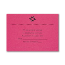 Hip Mitzvah - Response Card and Envelope - Fuchsia