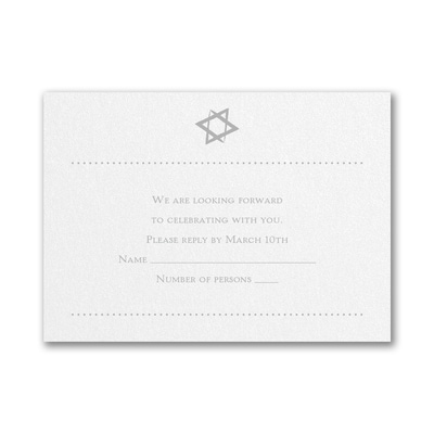 Hip Mitzvah - Response Card and Envelope - White Shimmer