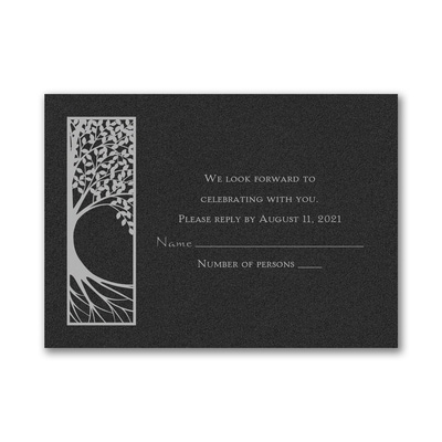 Tree of Life - Response Card and Envelope - Black Shimmer